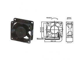 Ventilátor   12V/ 60x60 x 25 mm