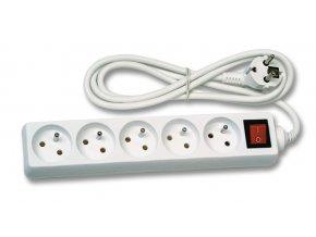 Prodlužovací kabel 5m 5 zásuvek s vypínačem