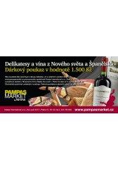 Dárková poukázka na vína a delikatesy v hodnotě 1500Kč