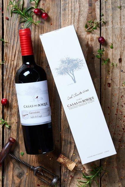 Dárkové balení vína Casas del Bosque Reserva Carmenére