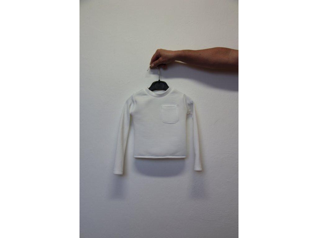 Triko bílé s kapsičkou