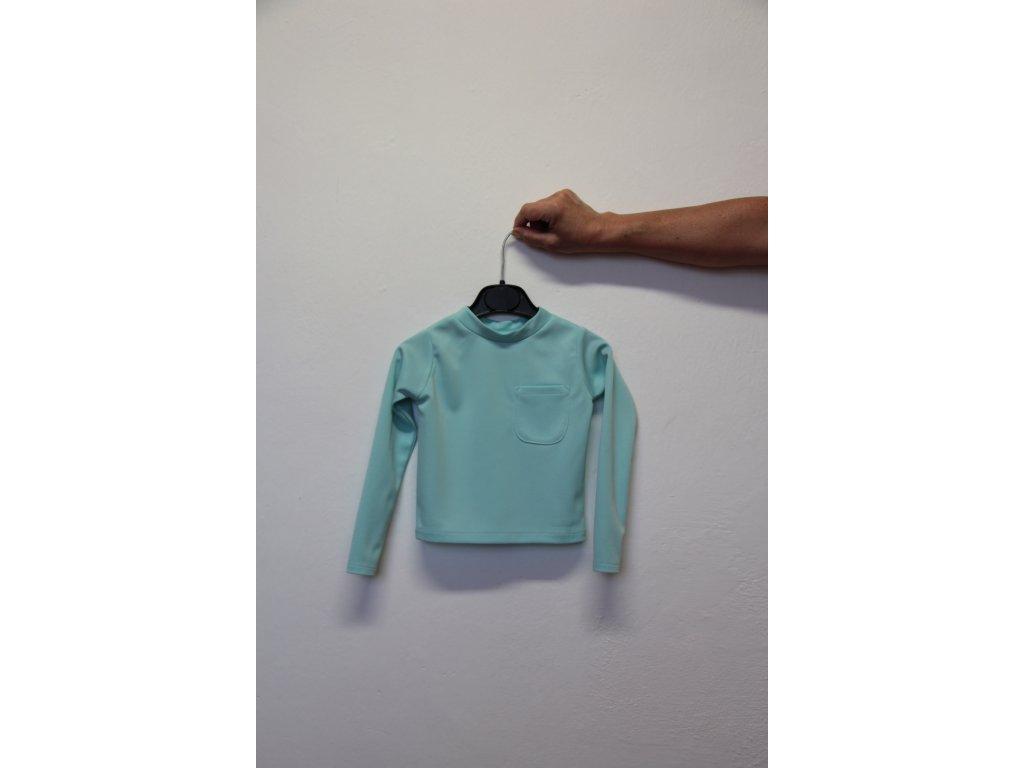 Triko modré s kapsou - dlouhý rukáv
