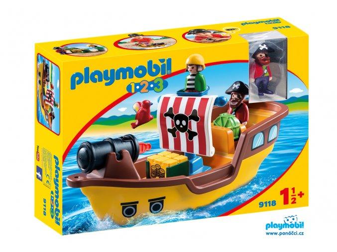 Playmobil 9118 Pirátská loď 1.2.3