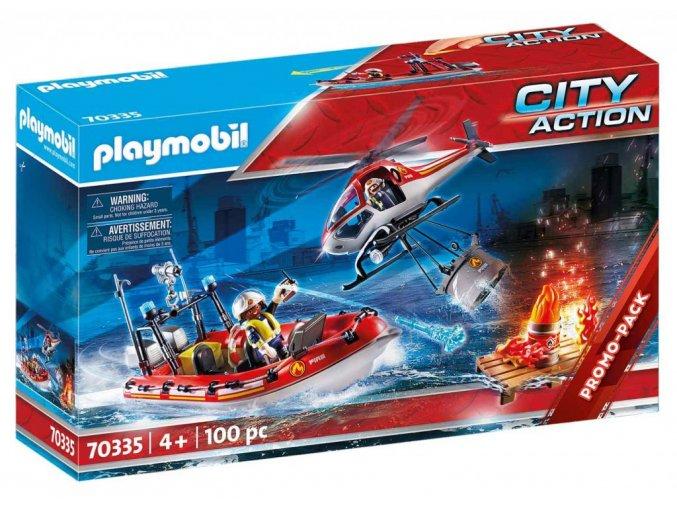 Playmobil 70335 Hasiči s helikoptérou a člunem