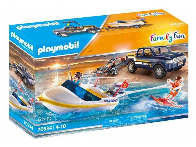 Playmobil 70534 Pick-up s motorovým člunem
