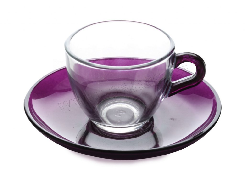 Skleněný šálek s podšálkem fialový 90 ml - Maxwell Williams