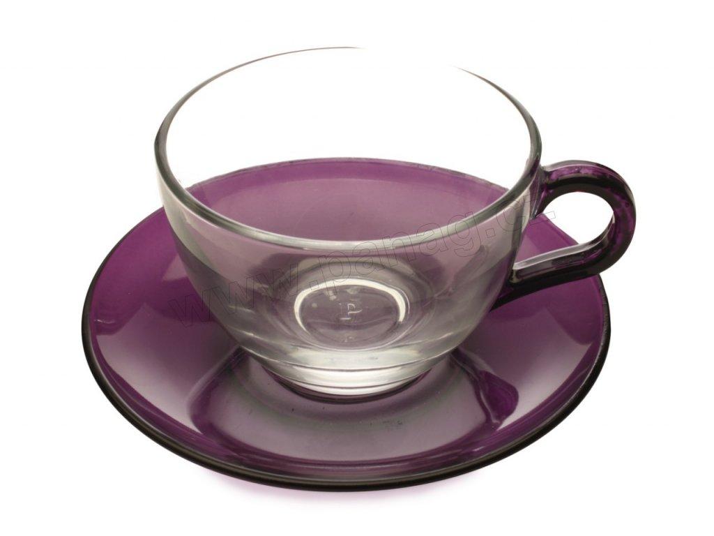 Skleněný šálek s podšálkem fialový 250 ml - Maxwell Williams