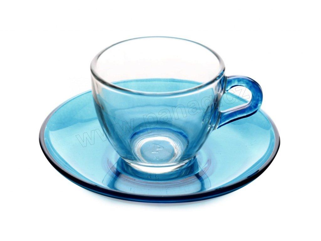 Skleněný šálek s podšálkem modrý 90 ml - Souprava 6 ks - Maxwell Williams