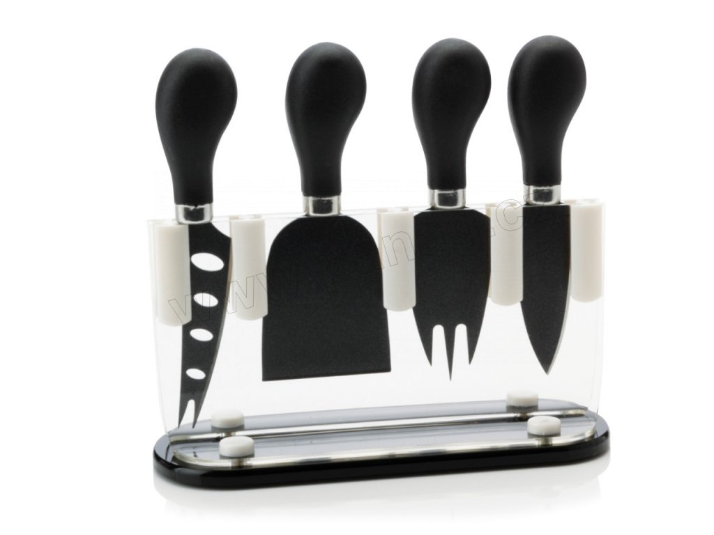 4 nožů na sýr ve stojanu černá -   Maxwell&Williams