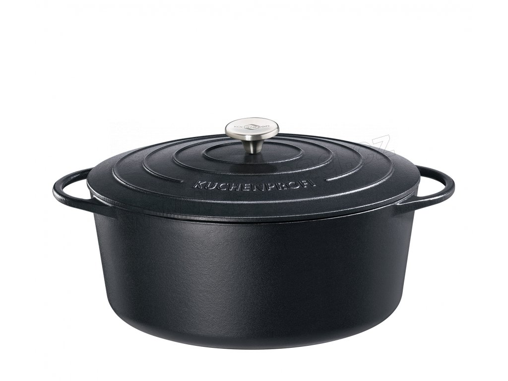 Litinový hrnec oválný PROVENCE černý - 40 cm - Küchenprofi - 0402001040