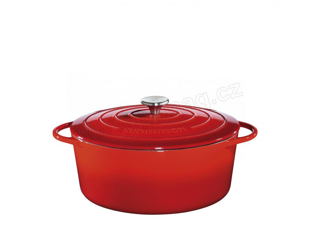 Litinový hrnec oválný PROVENCE červený - 33 cm - Küchenprofi - 0402001433