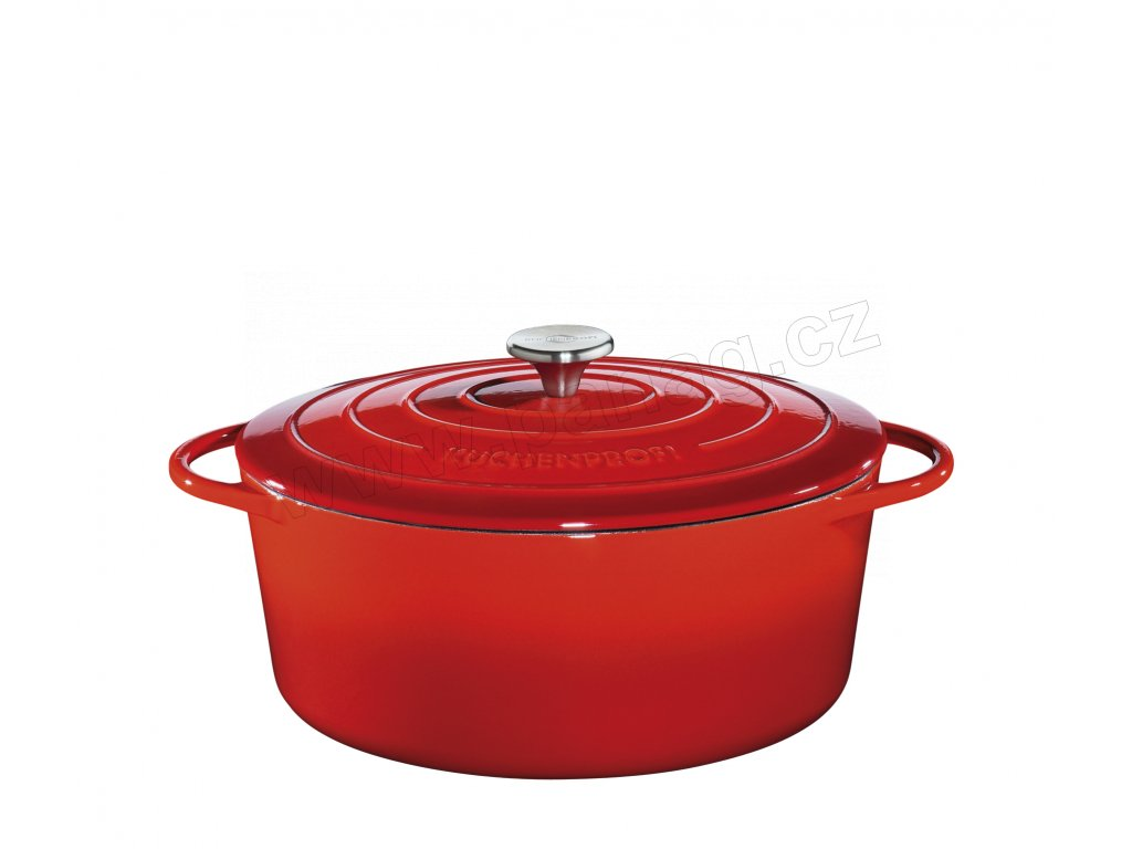 Litinový hrnec oválný PROVENCE červený - 35 cm - Küchenprofi - 0402001435