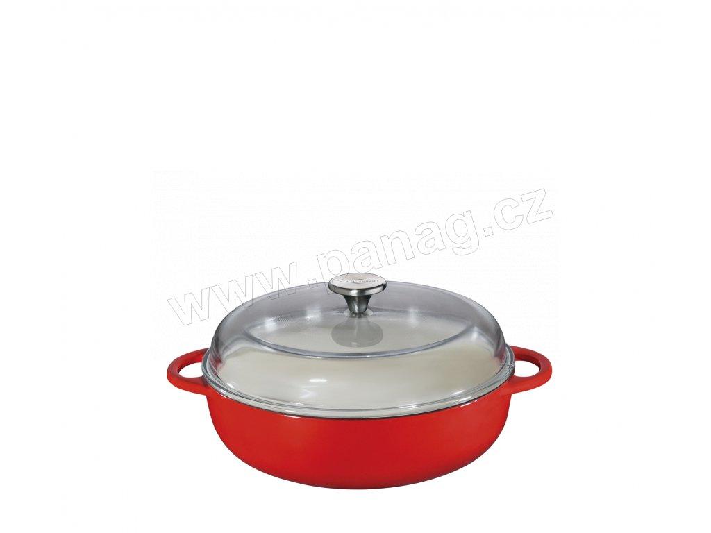 Litinová vysoká pánev PROVENCE červená - 28 cm se skleněnou poklicí - Küchenprofi - 0402551428