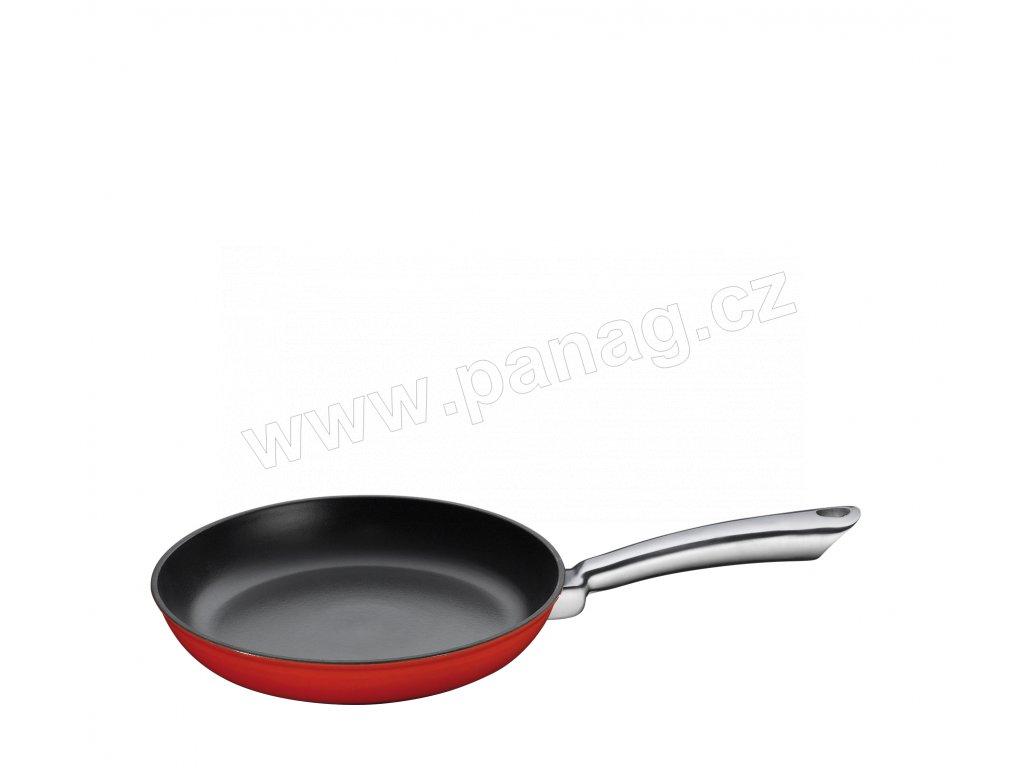 Litinová pánev s nerezovou rukojetí PROVENCE červená - 24 cm - Küchenprofi - 0403001424