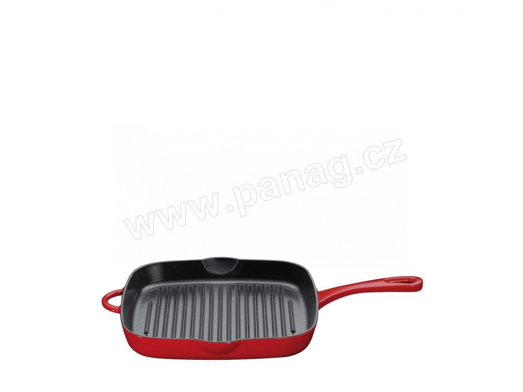 Litinová grilovací pánev PROVENCE s vysokým okrajem červená - 26x26 cm - Küchenprofi - 0407801426