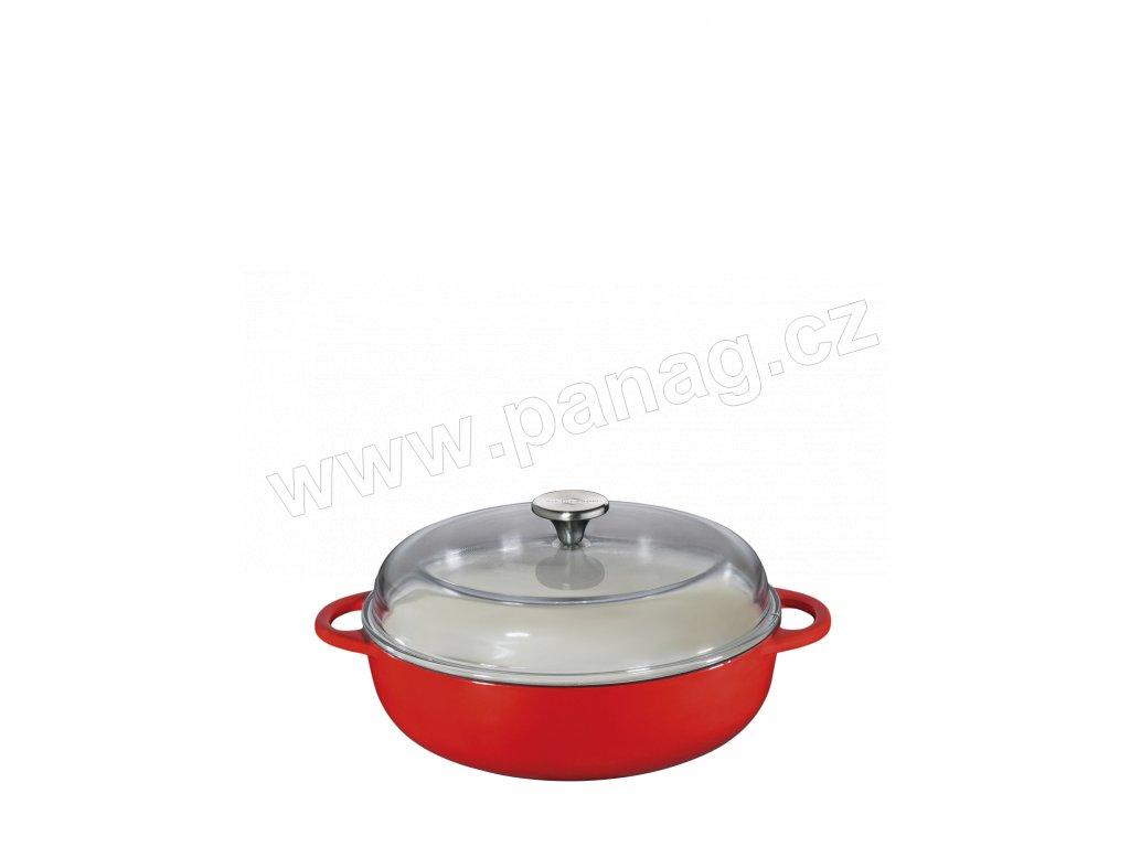 Litinová vysoká pánev PROVENCE červená - 24 cm se skleněnou poklicí - Küchenprofi - 0402551424