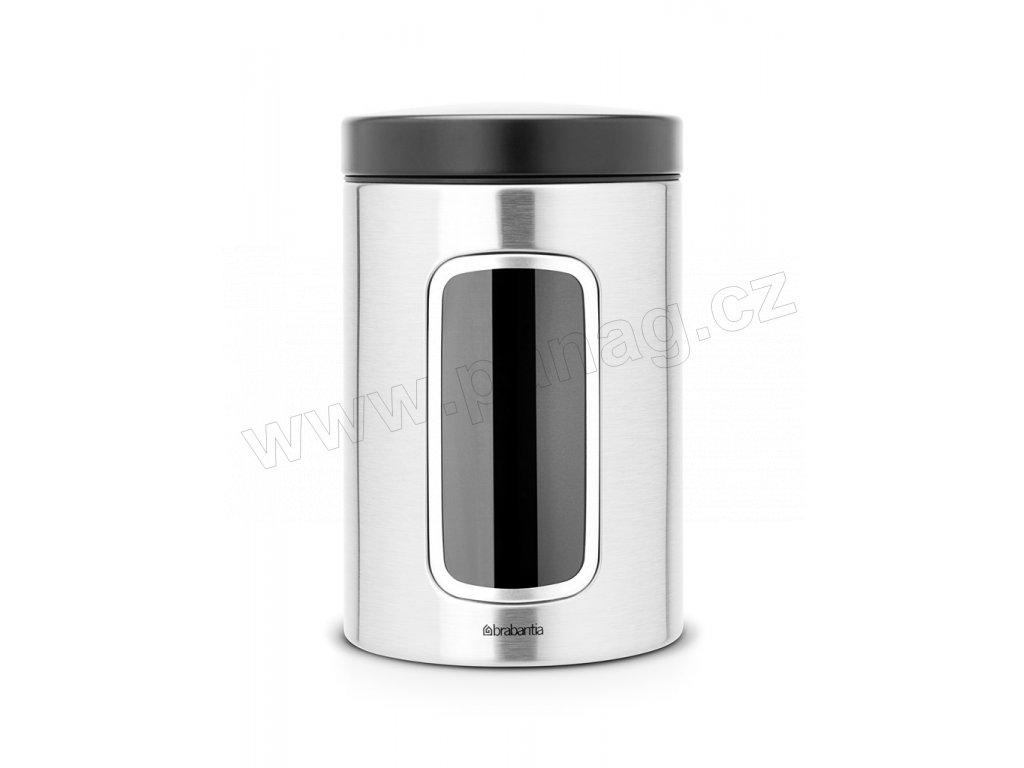 Dóza okénko 1,4 L víko černé / Matná ocel FPP