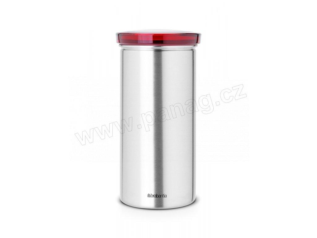 Dóza na kávové a čajové kapsle Červené víko / Matná ocel PFP