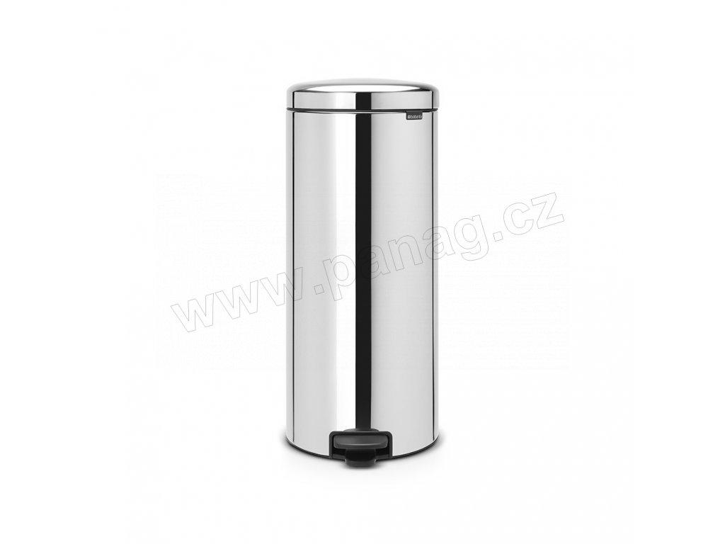 Pedálový koš newIcon - 30 L, kovové vědro, Lesklá ocel
