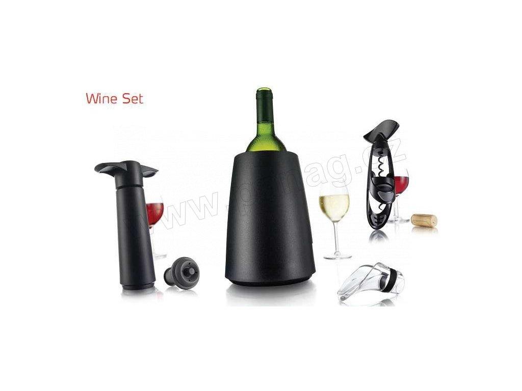 """Vinný set vývrtka """"Twister"""", chladič na víno """"Elegant"""", vakuová pumpa, vakuový uzávěr 2 ks, nálevka"""