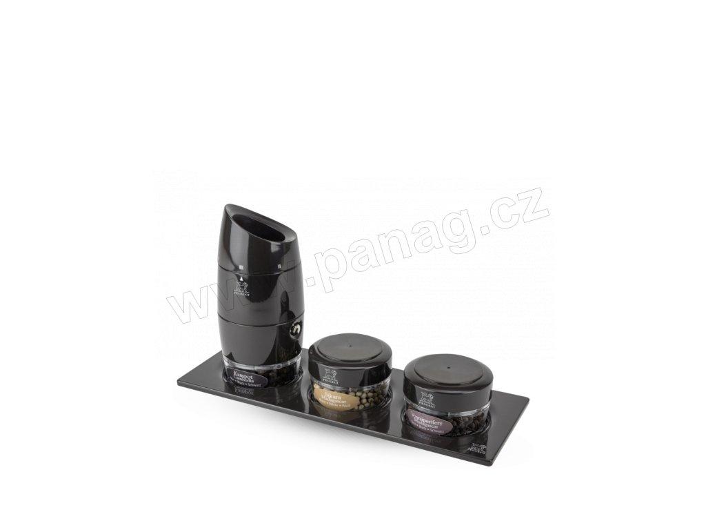 32814 PEUGEOT ZANZIBAR mluti mlýnek na pepř 12 cm se třemi druhy pepře černý akryl celé