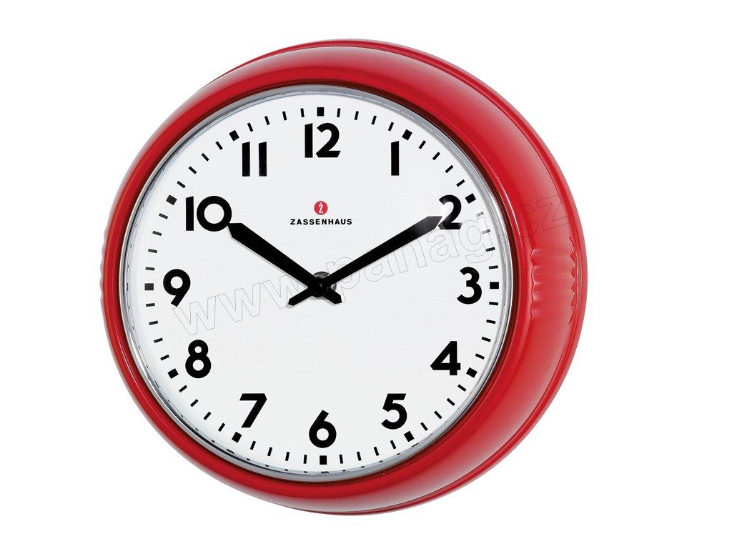Retro nástěnné hodiny červené - Zassenhaus - 072723