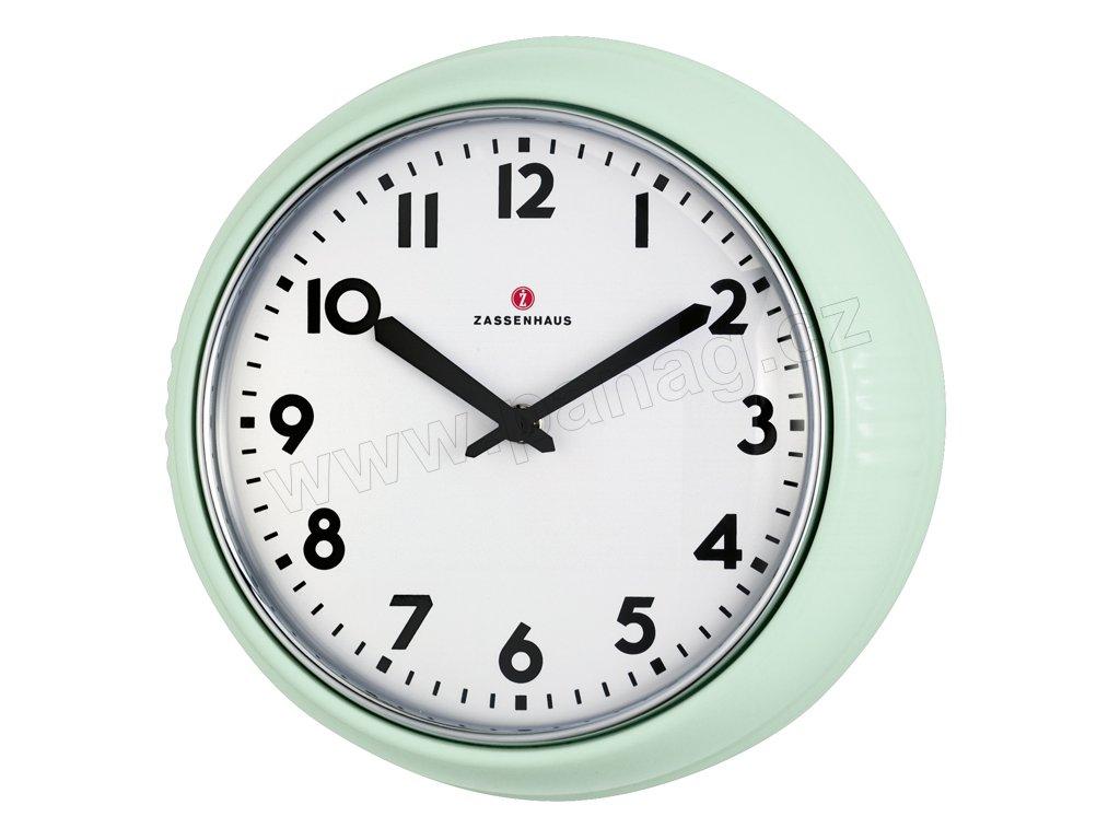 Retro nástěnné hodiny světle zelené - Zassenhaus - 072945