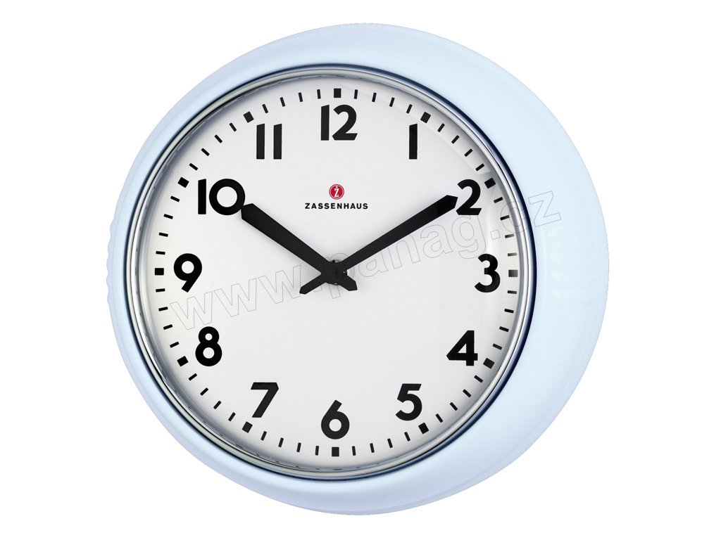 Retro nástěnné hodiny světle modré - Zassenhaus - 072969