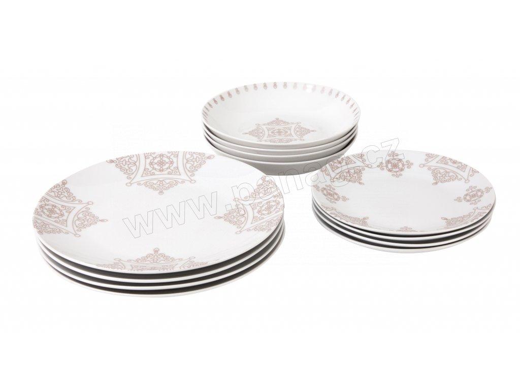 Jídelní souprava talířů 12 ks z kolekce porcelánu BAROKO od by inspire.