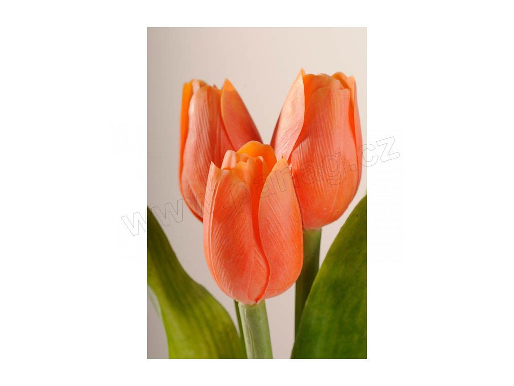 107O Francouzský umělý tulipán oranžový 40 cm