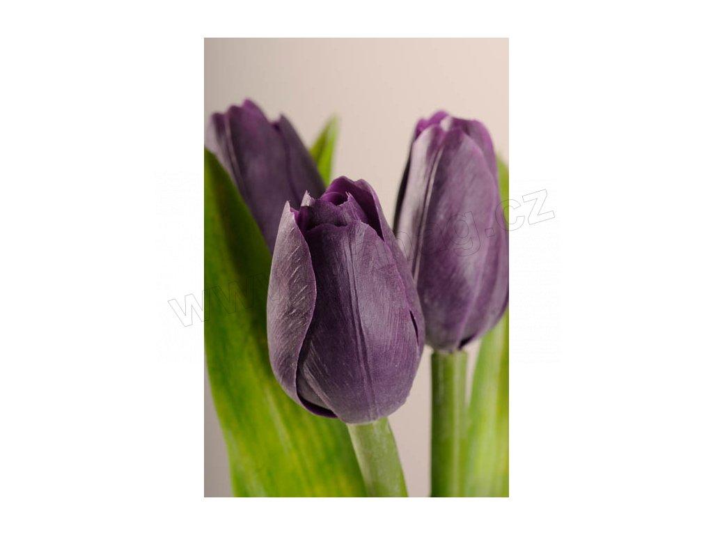 107V Francouzský umělý tulipán fialový 40 cm