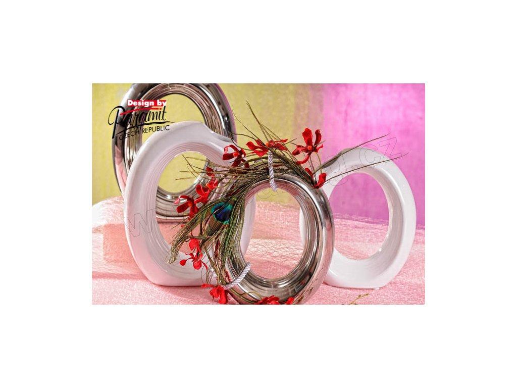 12069 Ringo váza stříbrná a bílá Paramit