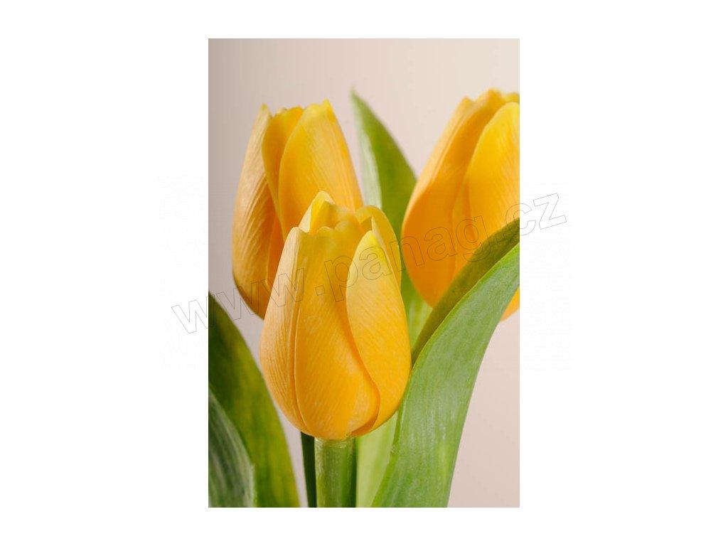 107Y2 Francouzský umělý tulipán jasně žlutý 40 cm