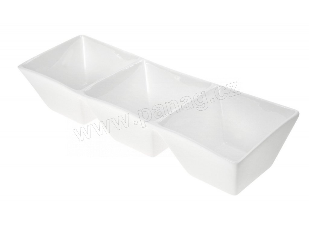 Porcelánová trojmiska Quadro 25 cm bílá - by inspire