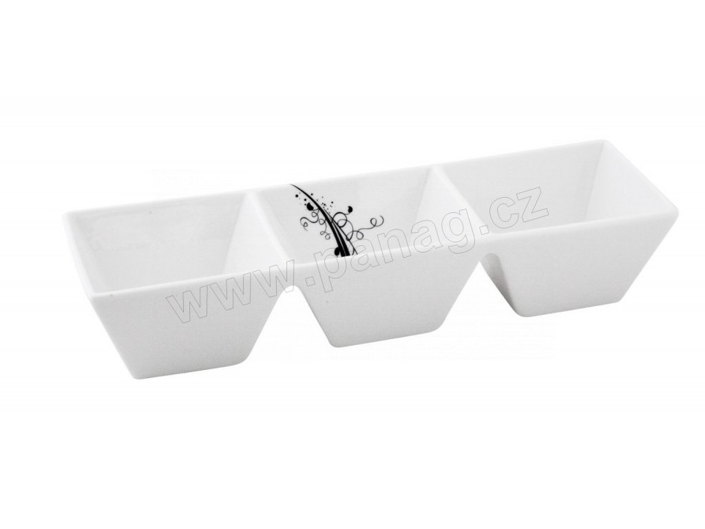 Porcelánová trojmiska Quadro 25 cm BLACK - by inspire