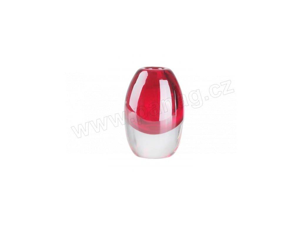 Skleněná designová váza červená 5 x 8 cm - by inspire