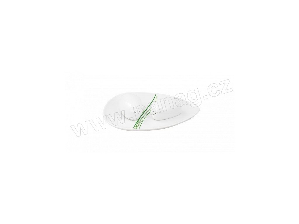 Porcelánová slánka a pepřenka s táckem Stone - GRASS - bílá/zelená - by inspire