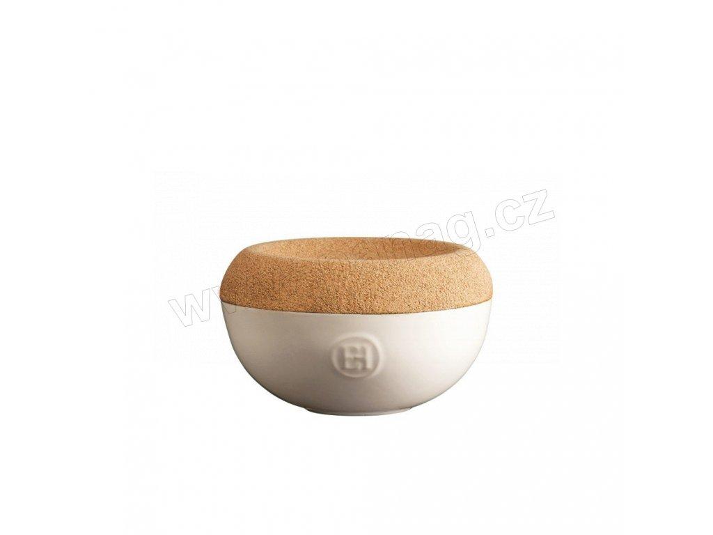 Dóza na sůl s korkovým víkem 0,5 l - slonová kost - Emile Henry - 028761