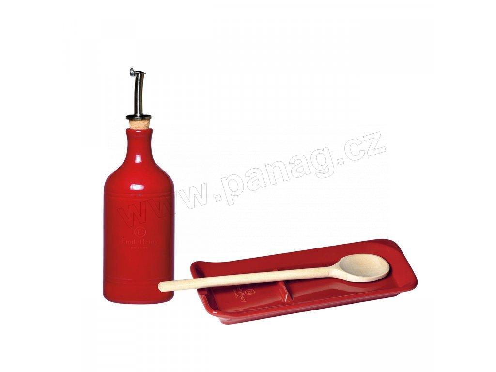 349762 Nádoba na olej a odkladač na vařečku granátová