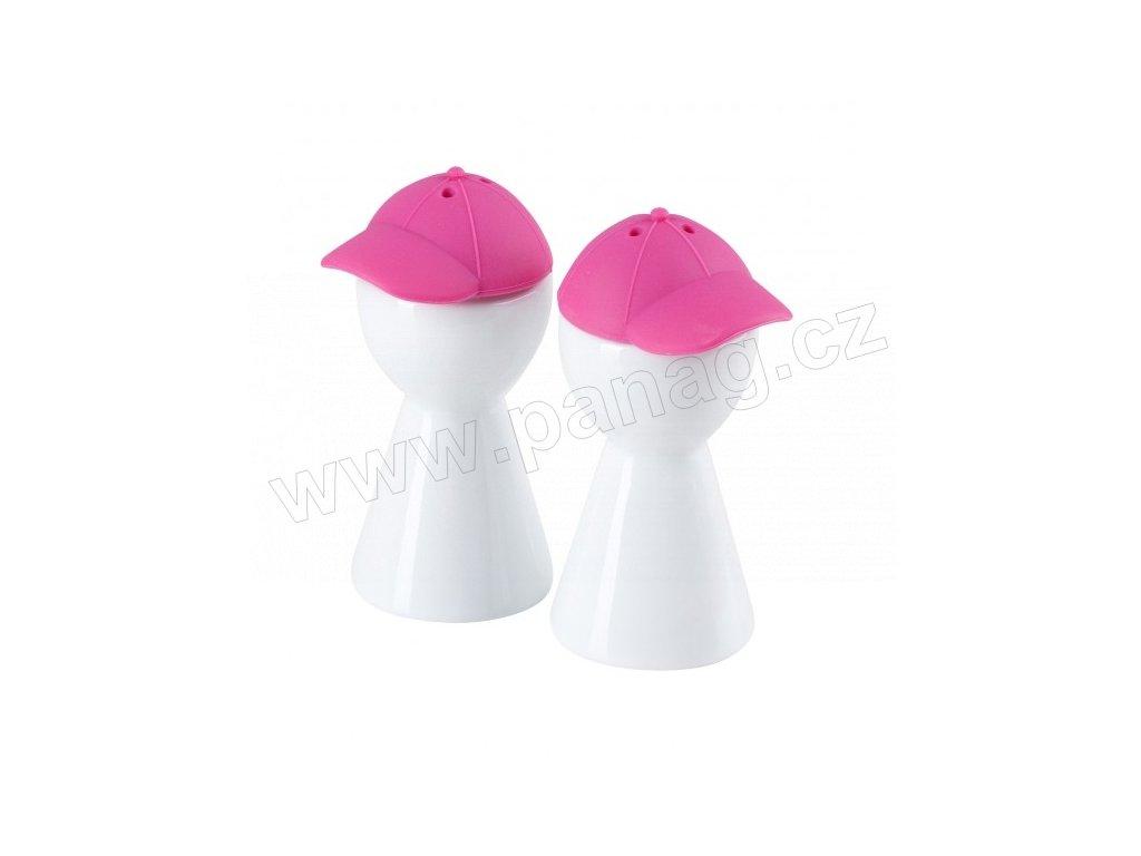 Set pepř/sůl 9 cm bílá/růžová - by inspire