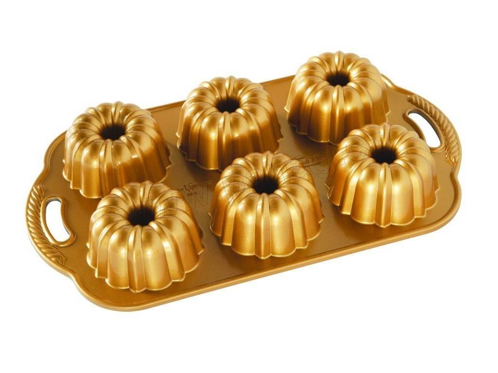 86277 Forma na mini bábovky 1 l 6 ks zlatá
