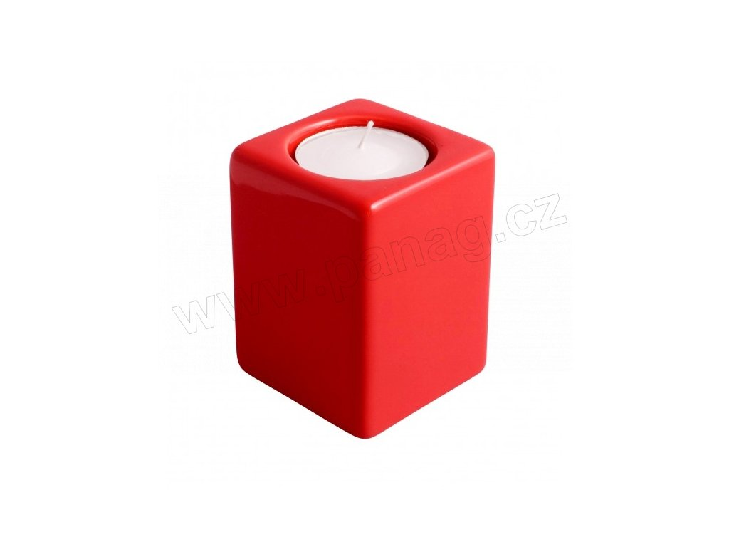 Svícen Quadro 8 cm červená - by inspire