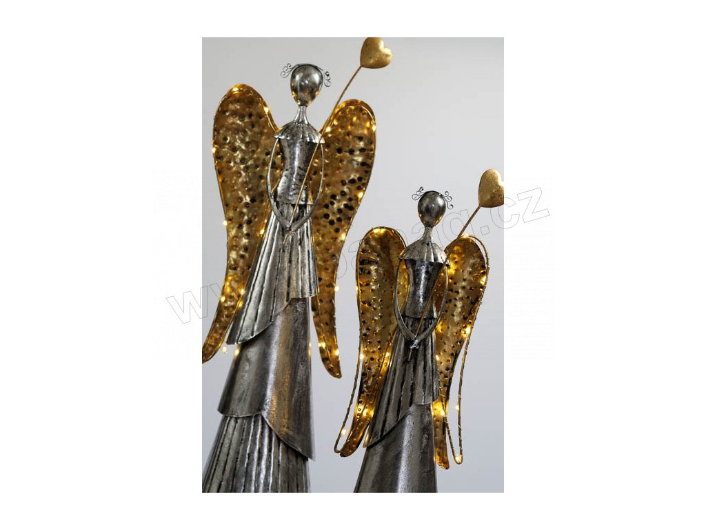 FLORENCE Kovový anděl 66 cm - svítící křídla