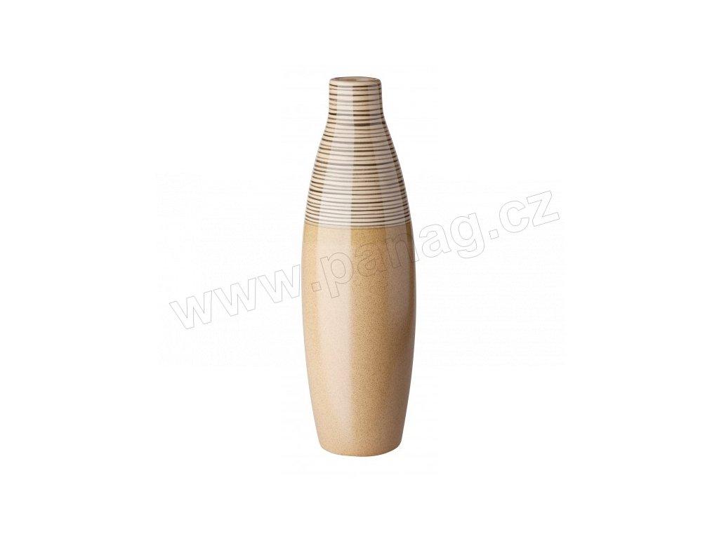 Váza 12 x 34 cm béžová s pruhy - by inspire