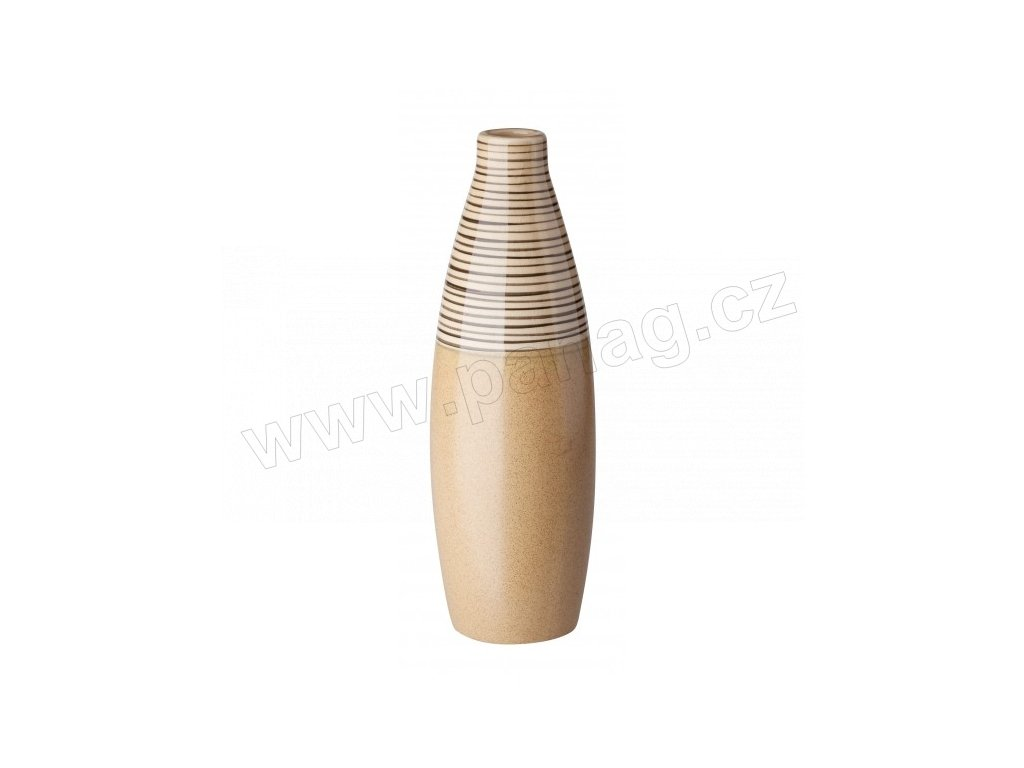 Váza 9 x 25 cm béžová s pruhy - by inspire
