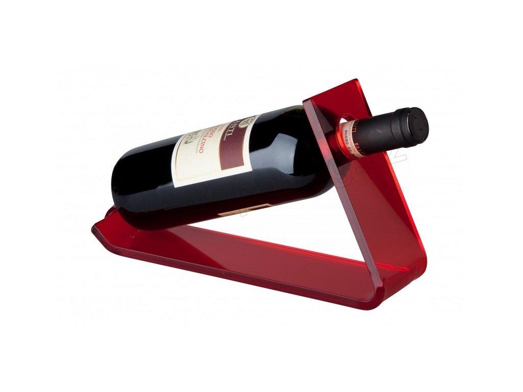 Stojan na 1 láhev vína ( 27,5x33x17cm) akrylik, červená - by inspire