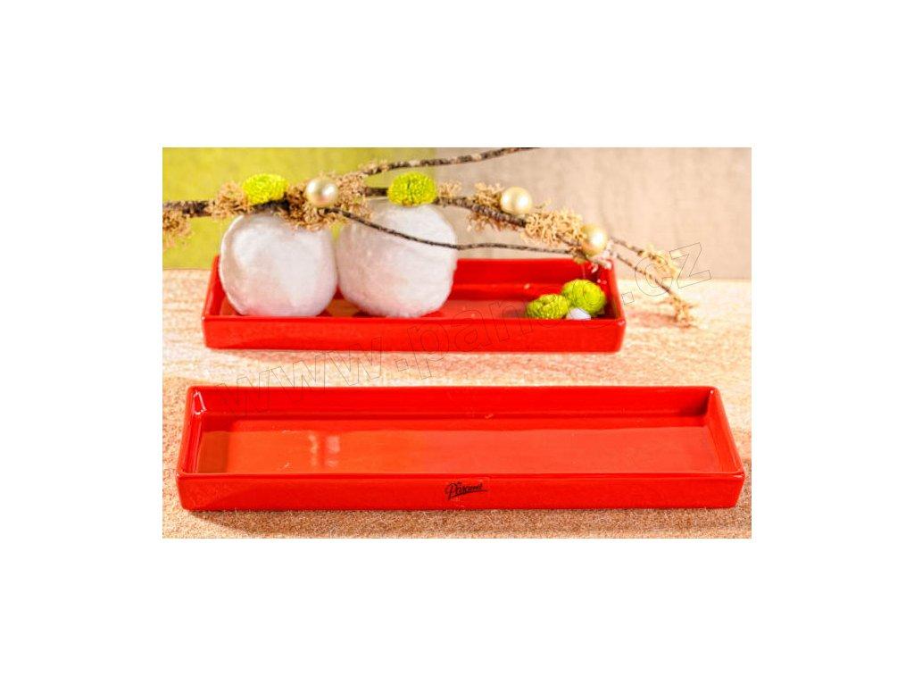 11086 31R Salma tácek obdélník červený 31 x 10 cm