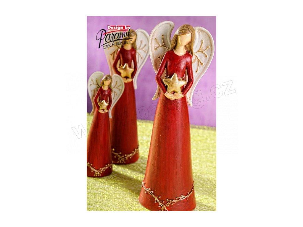 Anděl s hvězdičkou červený 26 cm  - Paramit - 4113-26R