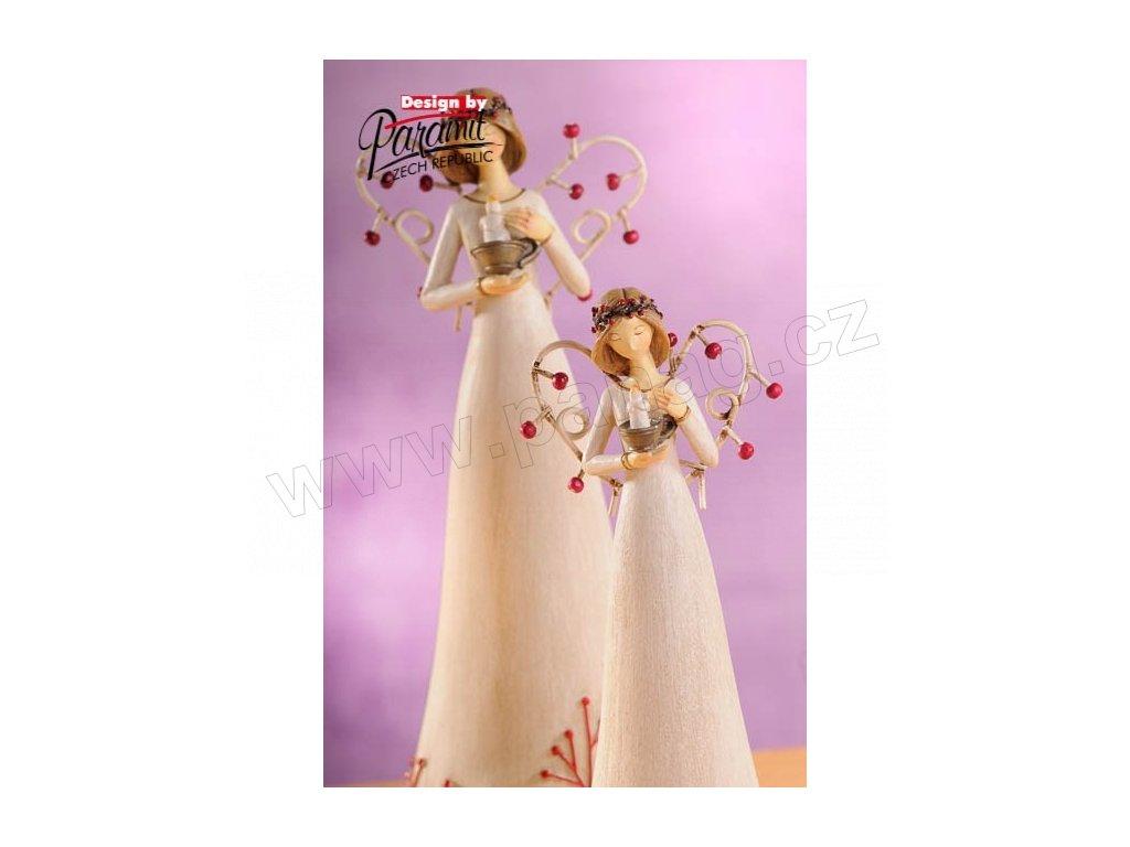 Anděl se svíčkou bílý 20 cm  - Paramit - 4119-20W