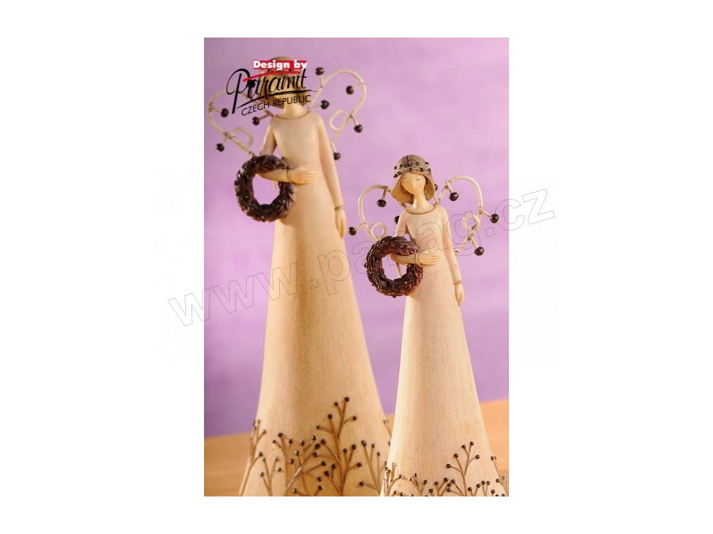 Anděl s věnečkem hnědý 20 cm  - Paramit - 4120-20B